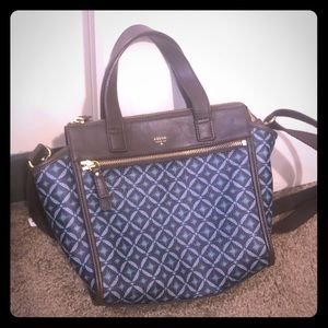 Fossil brown and blue leather crossbody